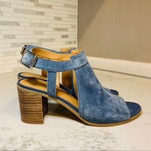 Franco Sarto Blue Suede Peep Toe Sandals
